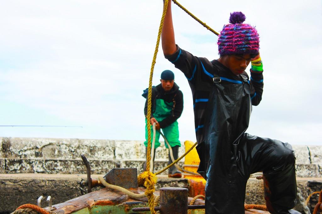 Fishermen working