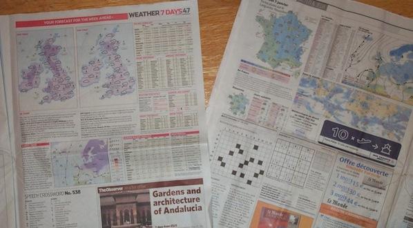 http://commons.wikimedia.org/wiki/File:WeatherPageNewspaper.jpg