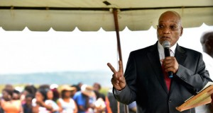 Jacob Zuma makes a speech in a tent [gcis]
