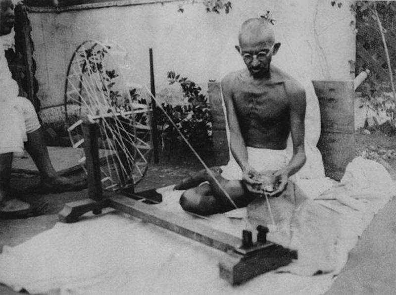 Gandhi spinning [wikimedia]