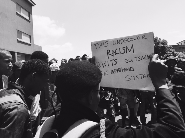 Wits fees protest placard B&W 3