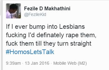 Lesbian hate tweet
