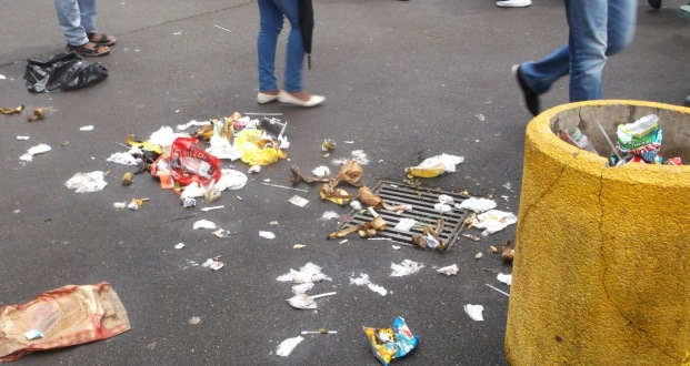 Waste lies uncollected at UKZN's Howard College. Bandile Mdlalose believes that waste can play a role in the struggle,