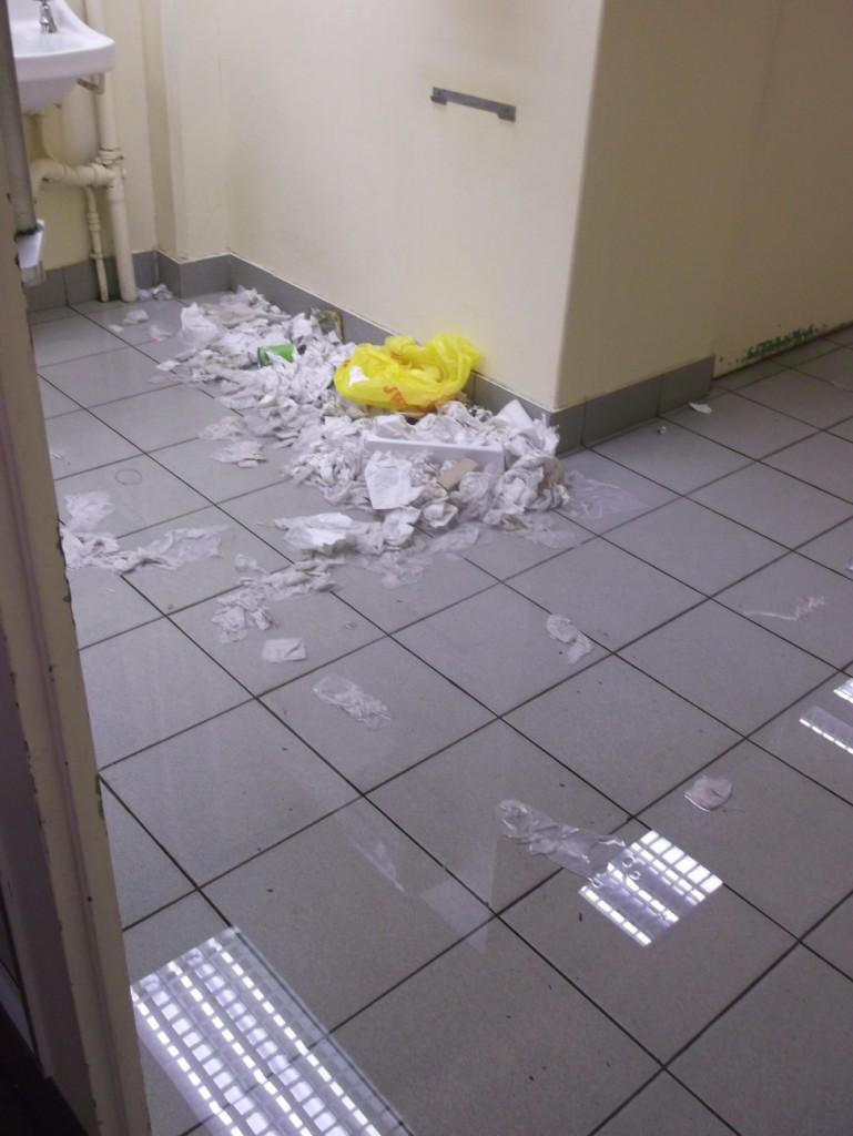 Waste has piled up in the toilets as a result of the cleaners' strike