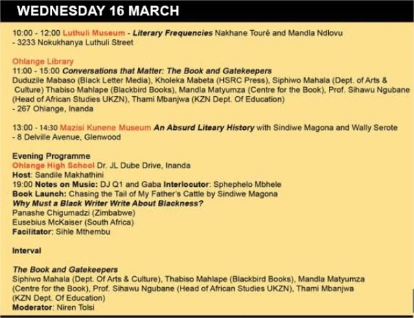 TOW2016 programme Wednesday