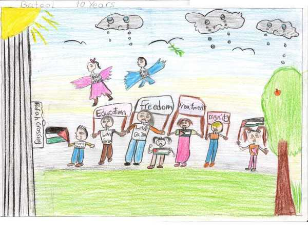 "10-year-old Batool's depiction of ""My Palestine"""