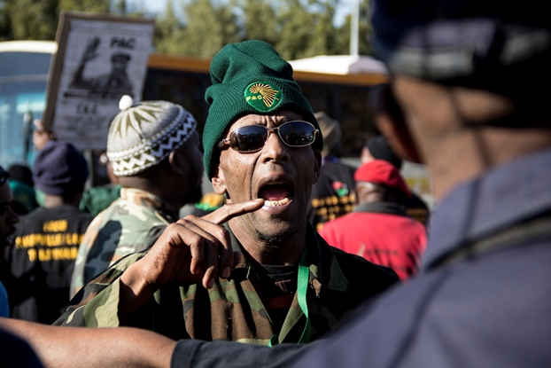 Johannesburg, South Africa: Pan African Congress (PAC) members argue with Policemen over entry to the Hector Pieterson Memorial site on June 16 2016.