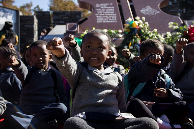 Johannesburg, South Africa: Children from Simply the Best nursery school present a performace at the Hector Pieterson Memorial site in Soweto on June 16 2016.