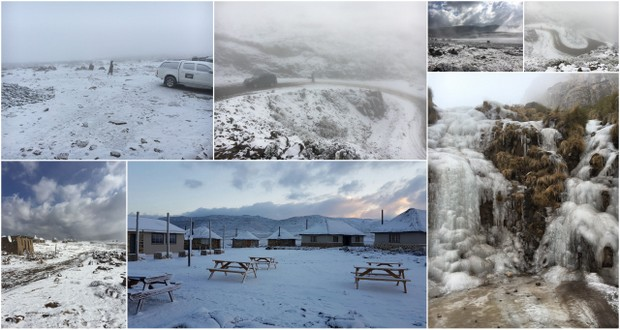 winter snow Sani pass collage