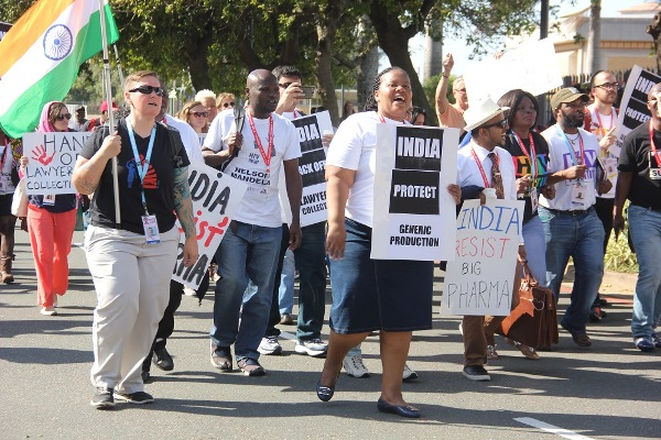 activists march to Indian consulate during AIDS2016