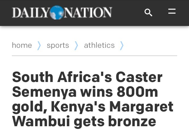Caster headline Daily Nation