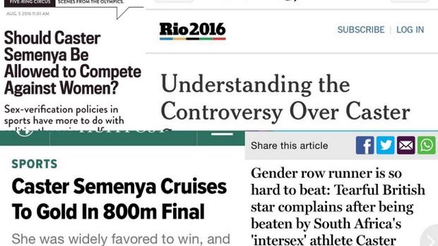 Caster Semenya Olympics headlines collage