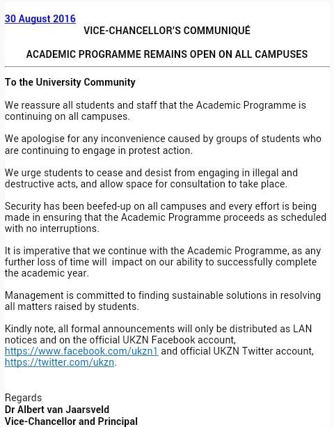 UKZN PMB fire 3 VC statement