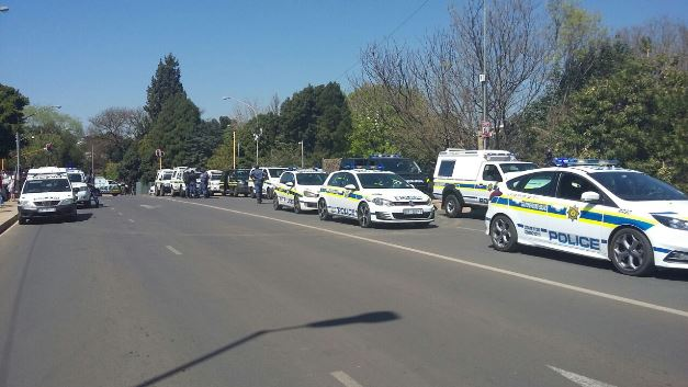 police cars at pretoria girls high protest