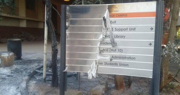 ukzn fire burned sign howard college