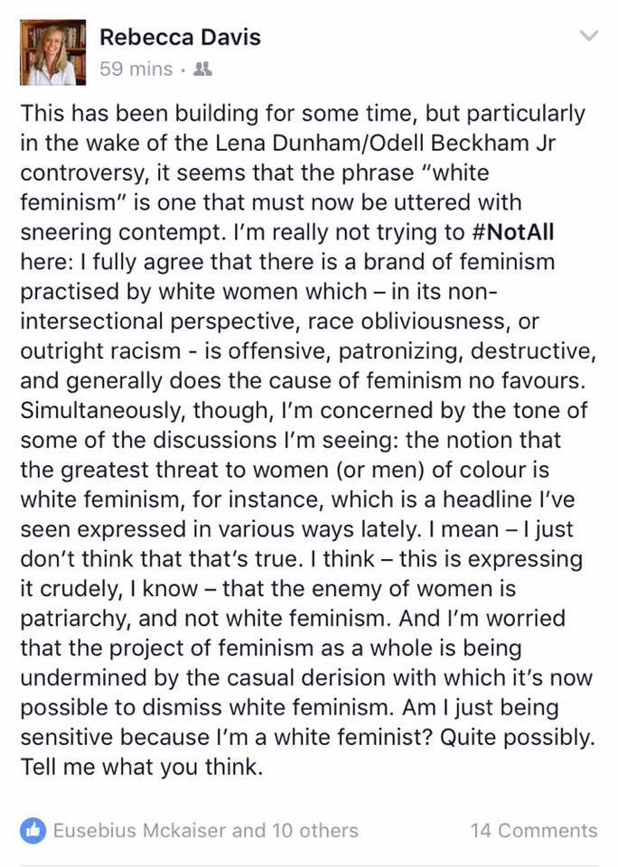 Rebecca Davis FB post