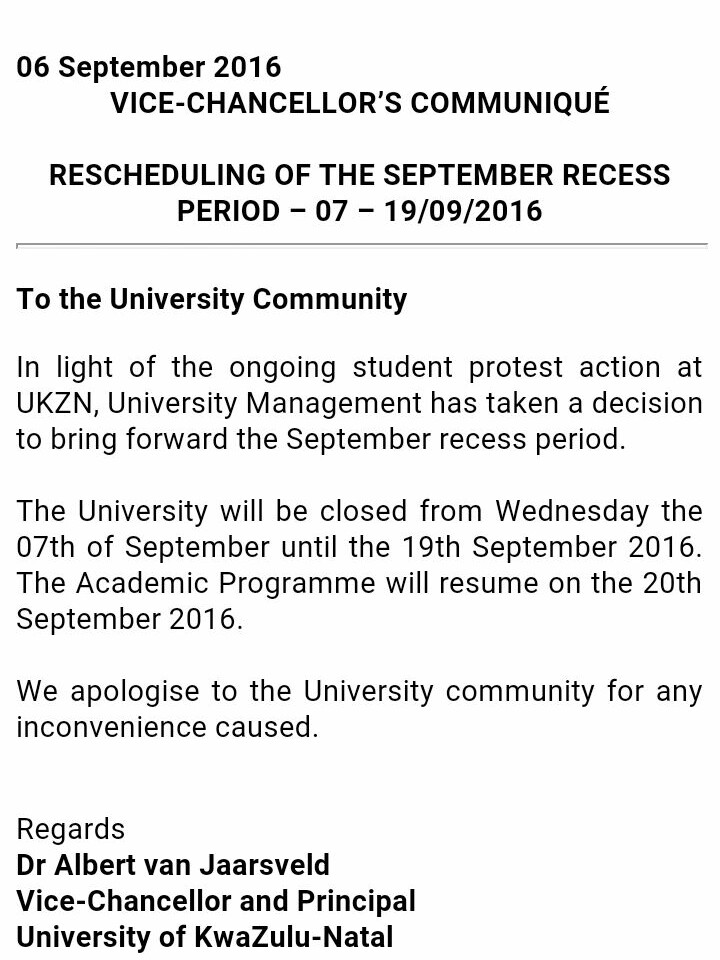 letter from VC re September recess UKZN