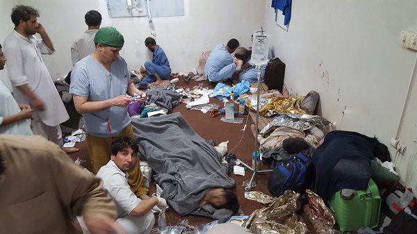 Emergency surgery and medical activities continue in one of the remaining parts of MSF's hospital in Kunduz in the immediate aftermath of the bombing 03 October 2015. MSF was forced to cease all its activities and evacuate the damaged hospital 04 October following the apparent targeted attack on its staff, patients and facility.