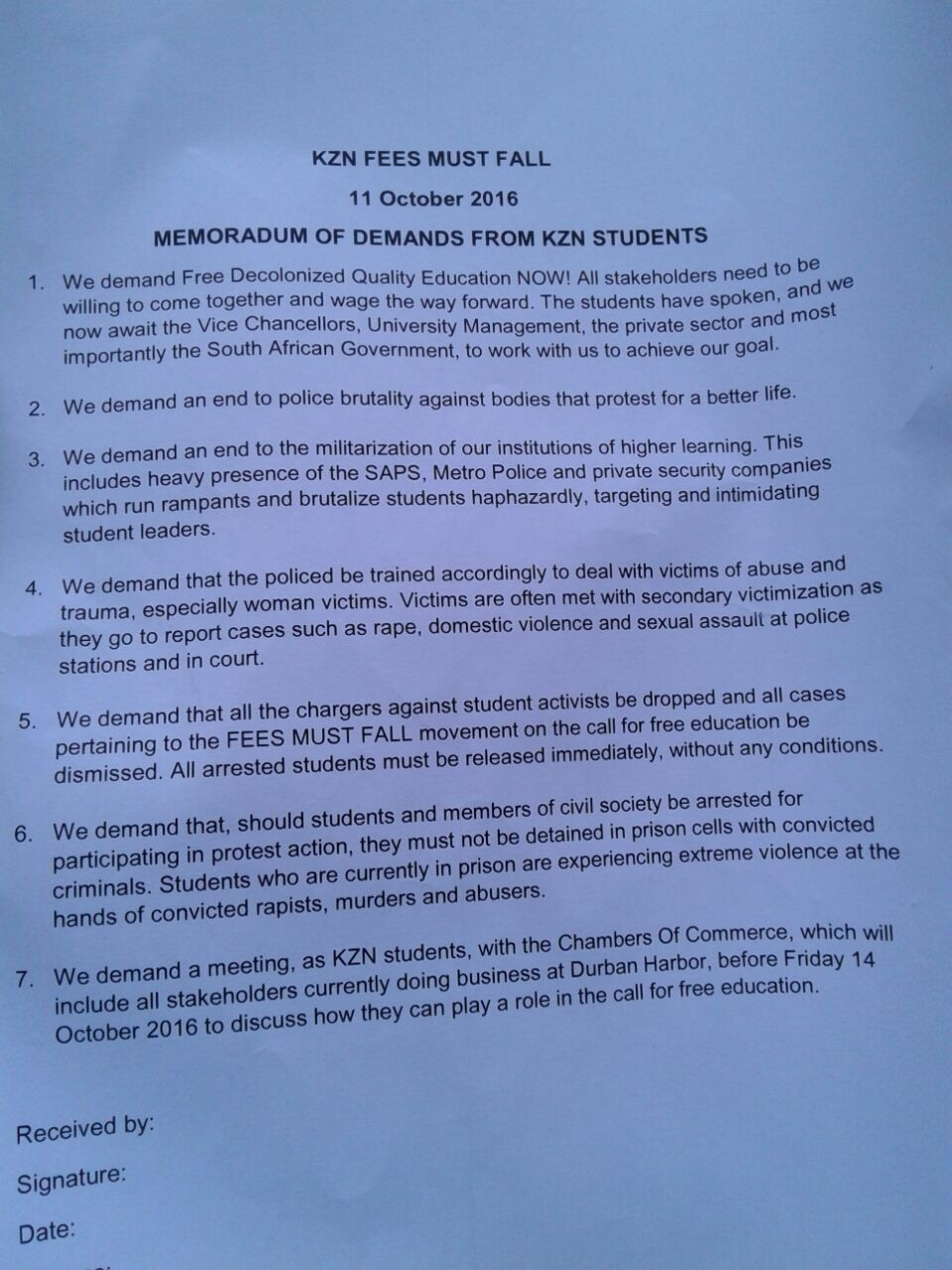 Memorandum of student demands handed to Chamber of Commerce. #KZNFMF