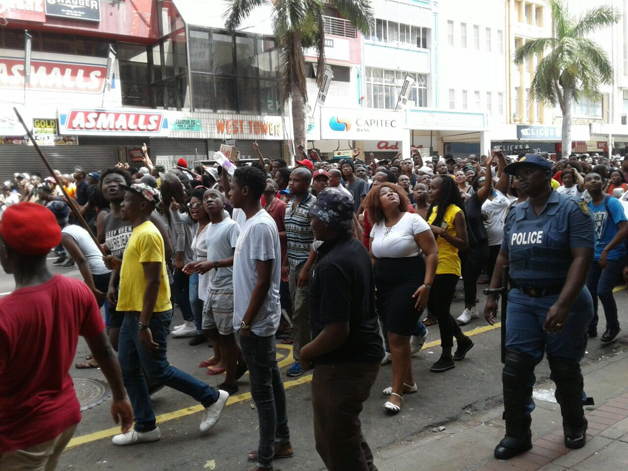 Students marching on West Street. #KZNFMF