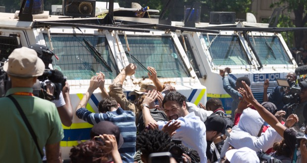 Students block nyala human shield