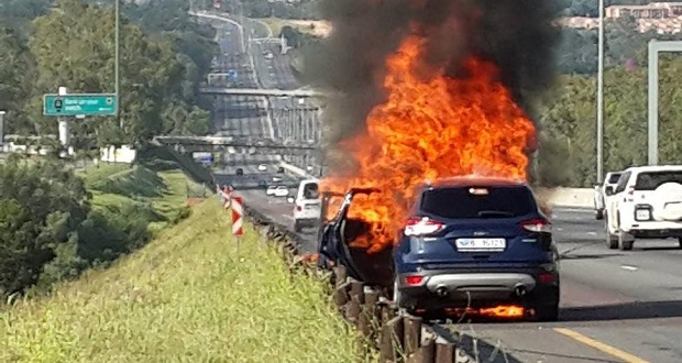 Burning Ford Kuga car fire