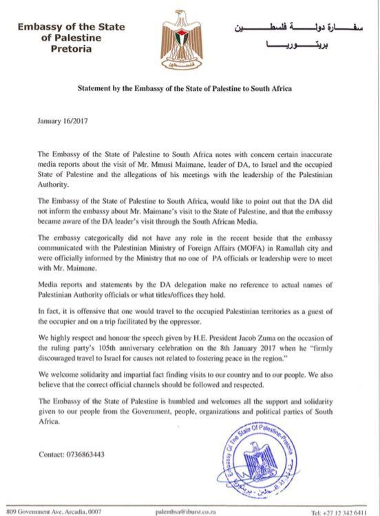 Palestinian Embassy statement