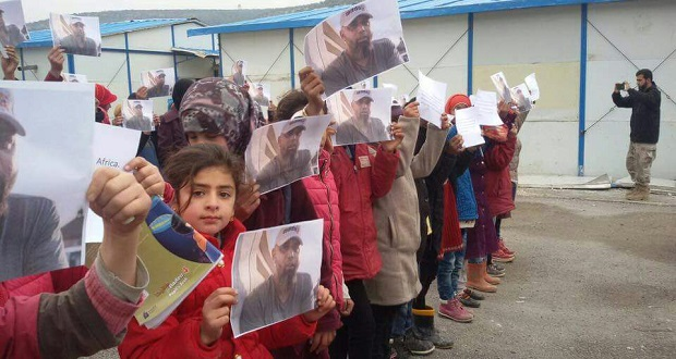 Syrian children protest for the release of Shiraaz Mohamed