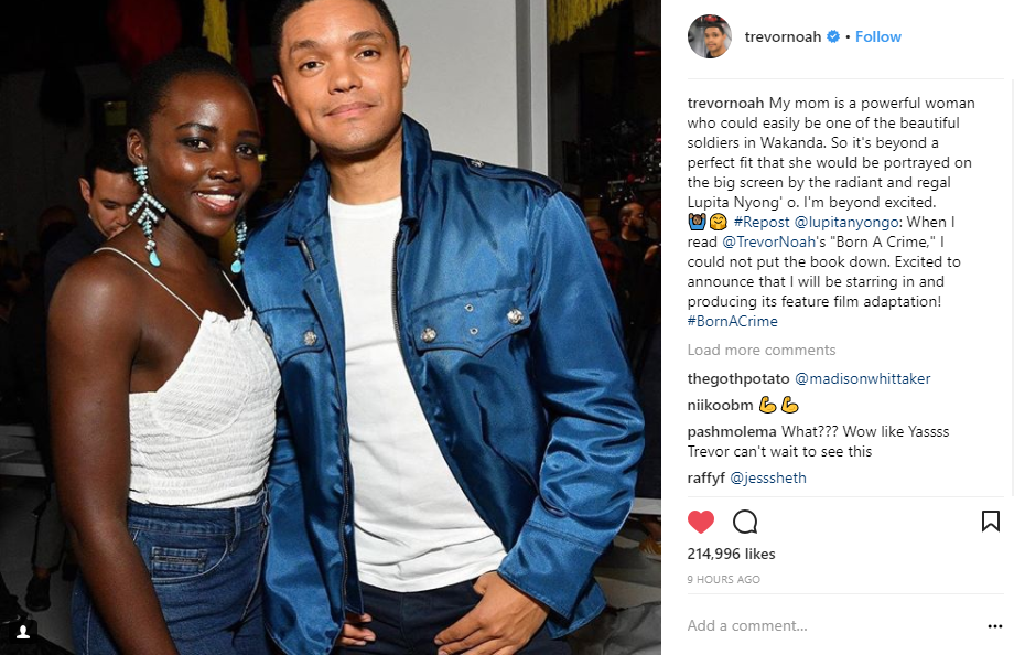 We Cannot Deal! Trevor Noah and Lupita Nyong'o Are Teaming ...