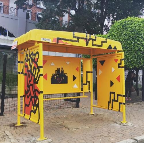 bus stop yellow